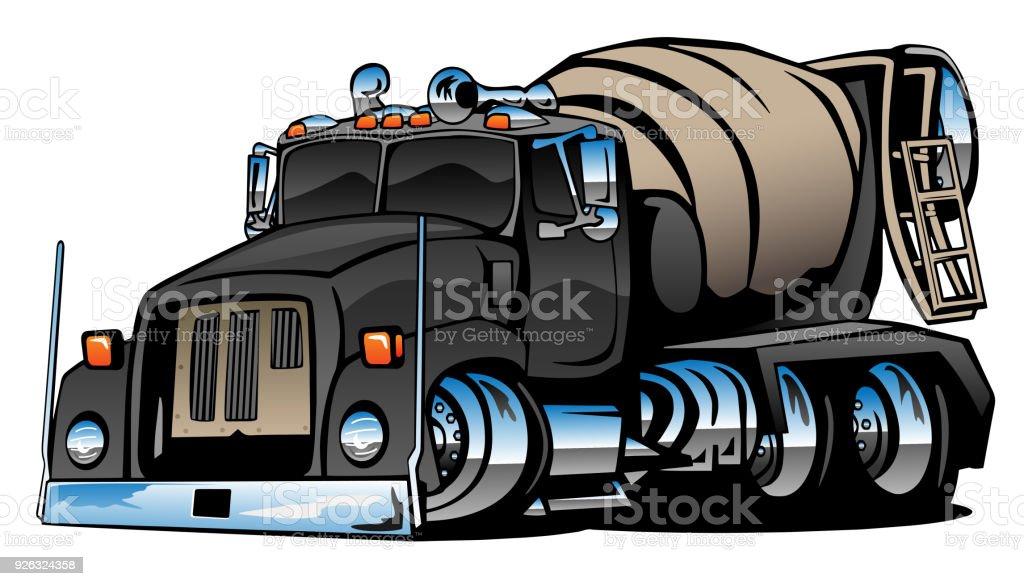 Cement Mixer Truck Cartoon Vector Illustration vector art illustration