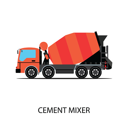 Cement mixer truck isolated on white background.