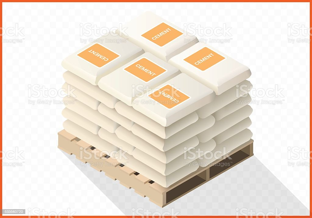 Cement sacks stacked isometric view vector art illustration