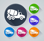 Illustration of cement truck circle icons with shadow