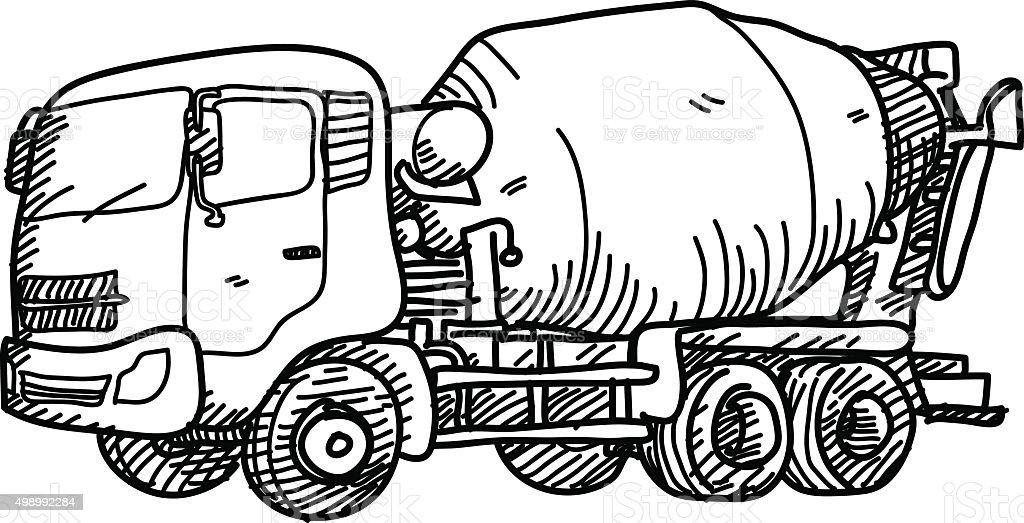 Cement Truck Doodle vector art illustration