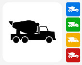 Cement Truck Icon. This 100% royalty free vector illustration features the main icon pictured in black inside a white square. The alternative color options in blue, green, yellow and red are on the right of the icon and are arranged in a vertical column.