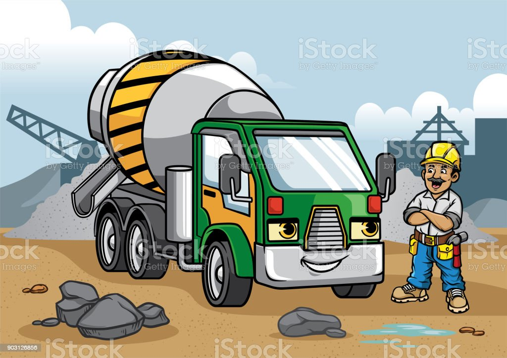 cement truck illustration on construction site vector art illustration