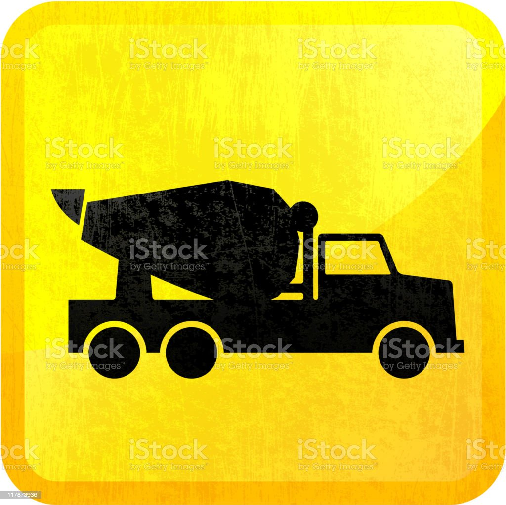 Cement truck on royalty free vector Background vector art illustration
