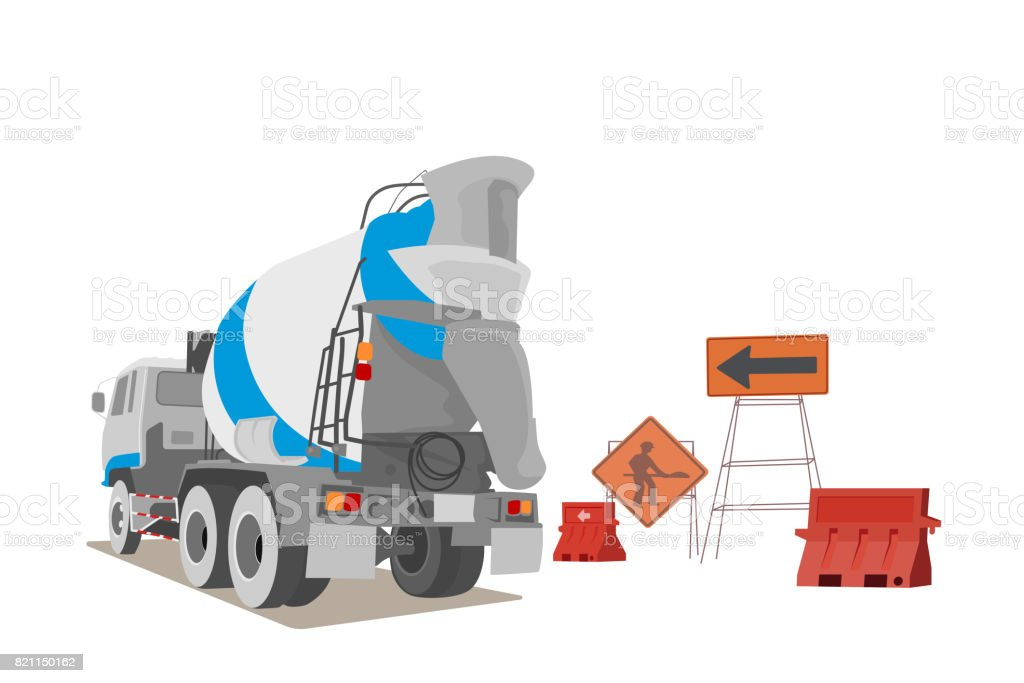 Cement truck with water plastic barriers scene vector art illustration