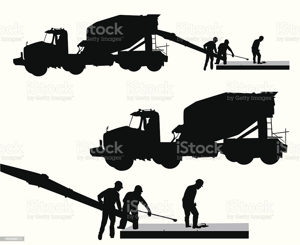 Cement Workers Vector Silhouette vector art illustration