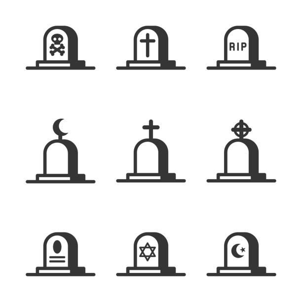 bildbanksillustrationer, clip art samt tecknat material och ikoner med kyrkogården kors och gravstenar ikoner set - grav