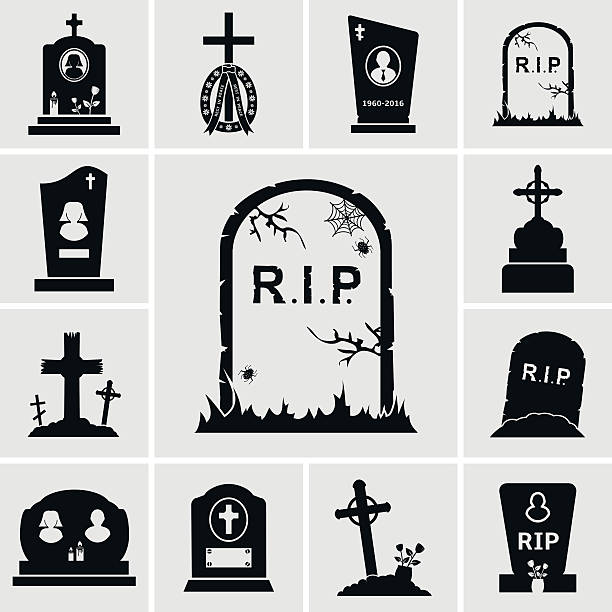 cemetery crosses and gravestones icons set - tombstone stock illustrations, clip art, cartoons, & icons