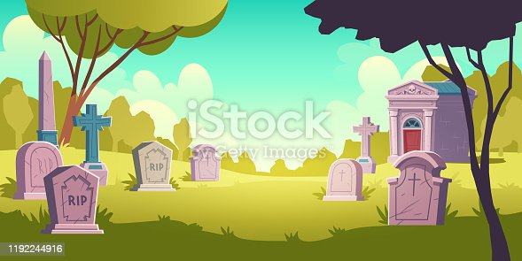 istock Cemetery day landscape, tombstone with RIP 1192244916