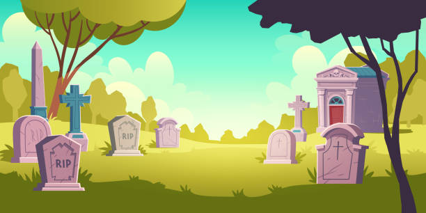 stockillustraties, clipart, cartoons en iconen met begraafplaats dag landschap, tombstone met rip - kerkhof