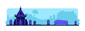 Cemetery flat color vector illustration. Tombstones and old crypt building. Coffin for burial ceremony. Spooky graveyard 2D cartoon landscape with gravestones and trees on background