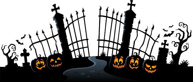 Cemetery gate silhouette theme 3