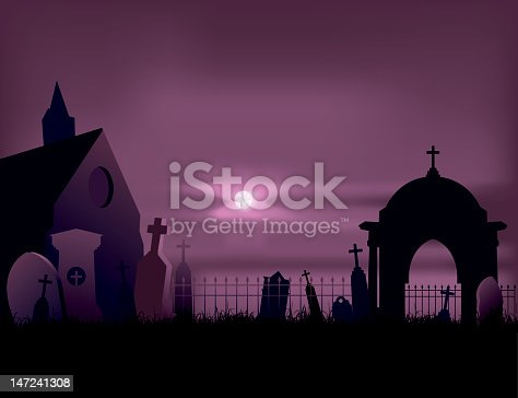 Terrified scene of cemetery in the night for halloween.