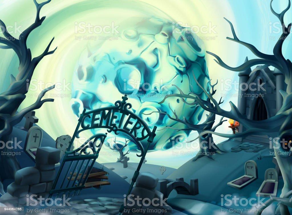 ilustração de cemitério fundo de dia das bruxas paisagem de desenho