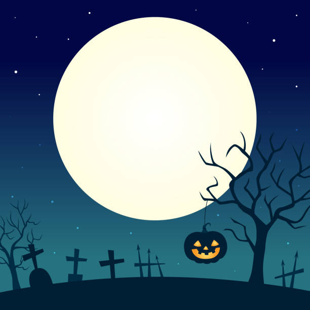 Cemetery night landscape with full moon.Cemetery night landscape with full moon.Halloween background. Cemetery,night,landscape,full moon,Halloween,holiday,background,illustration,design scary halloween scene silhouettes stock illustrations