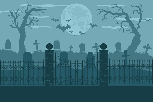 Cemetery or graveyard vector background