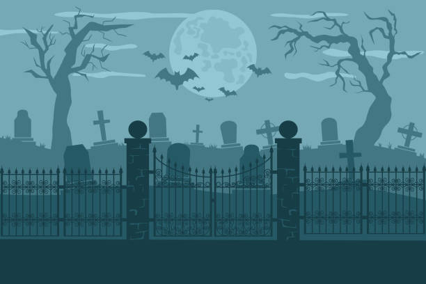 illustrazioni stock, clip art, cartoni animati e icone di tendenza di cemetery or graveyard vector background - cimitero