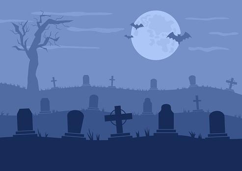 Cemetery or graveyard vector illustration