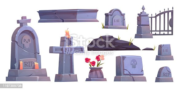 Cemetery set, graveyard tombstone, cracked stone cross with rip signature and extinguished candle, metal gate, ancient mausoleum tomb isolated on white background Cartoon vector illustration, clip art