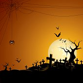 - cemetery with spider and bats
