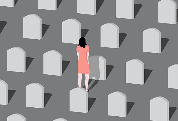 Cemetery. Young woman visiting a loved one at the cemetery. grief stock illustrations