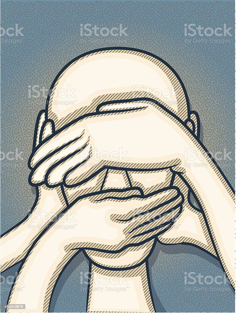 Censorship diagram with hands covering the face vector art illustration