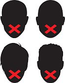 Vector silhouettes of faces with X's over the mouths to represent censorship.