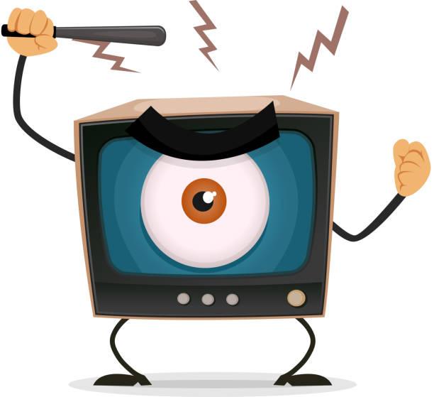 zensur, auf terror und brainwash auf fernseher - kultfilme stock-grafiken, -clipart, -cartoons und -symbole