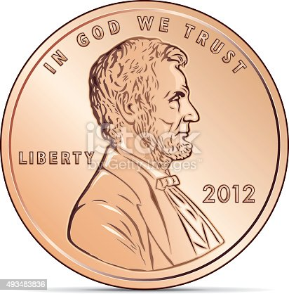 Vector based illustration eps with simple gradations. US cent coin depicting Abraham Lincoln.