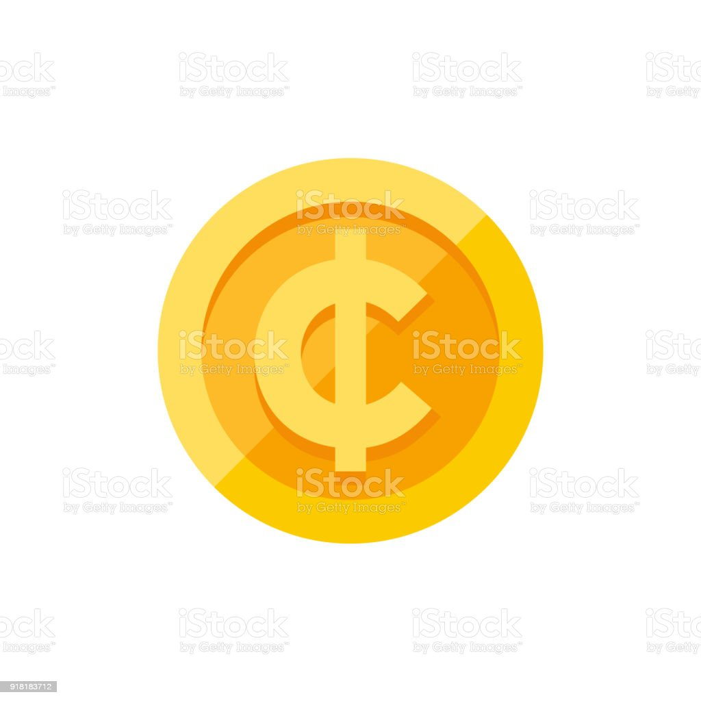 Cent Currency Symbol On Gold Coin Flat Style Stock Vector Art More