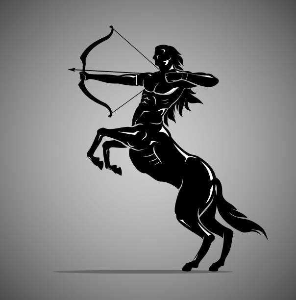 bildbanksillustrationer, clip art samt tecknat material och ikoner med centaur archer mytiska varelse i silhouette illustration - centaurus