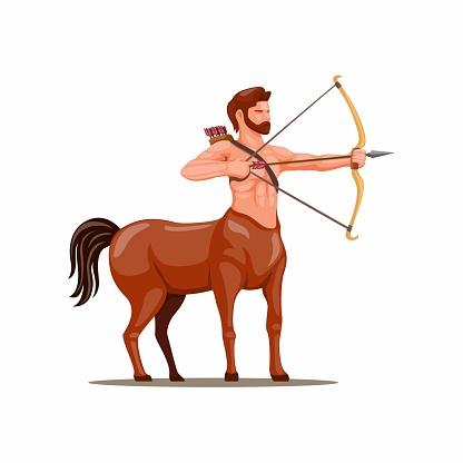 Centaur archer. mythical creature symbol for sagittarius zodiac character concept in cartoon illustration vector