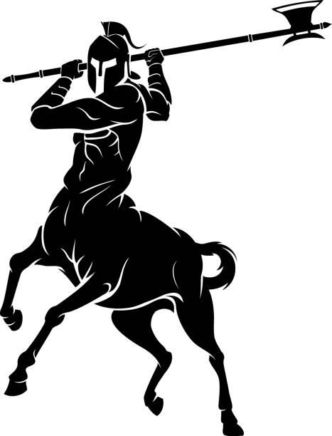 bildbanksillustrationer, clip art samt tecknat material och ikoner med centaur attack med halberd axe illustration - centaurus