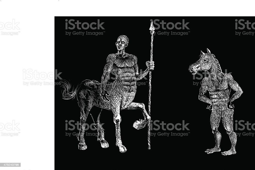 Centaurs vector art illustration