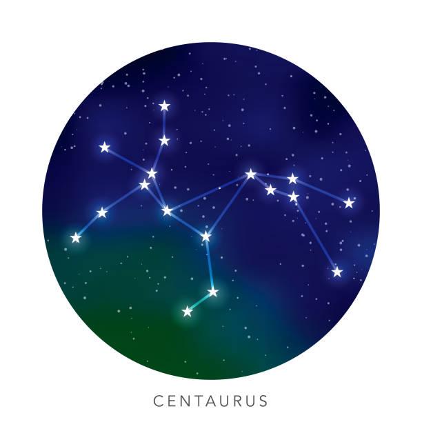 bildbanksillustrationer, clip art samt tecknat material och ikoner med centaurus stjärn konstellation - centaurus