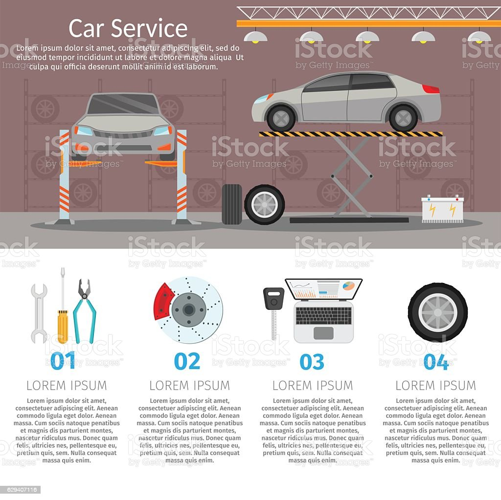 center mechanical car service with repair check up vehicles flat