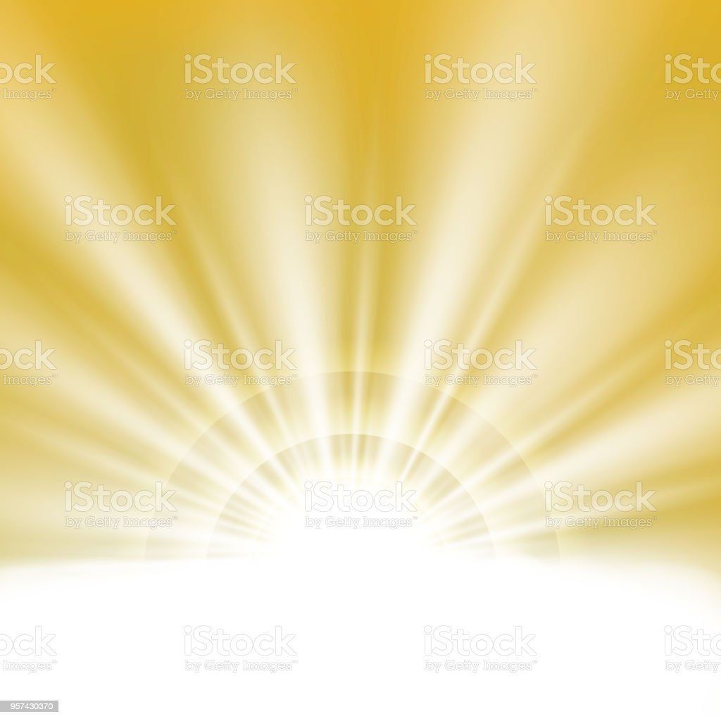 78b84cf63cf0c Center of summer sunburst light effect on clean yellow gold sky background  with text space.
