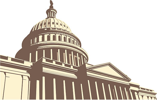 Center of the world simplified drawing of the us capitol. democracy stock illustrations