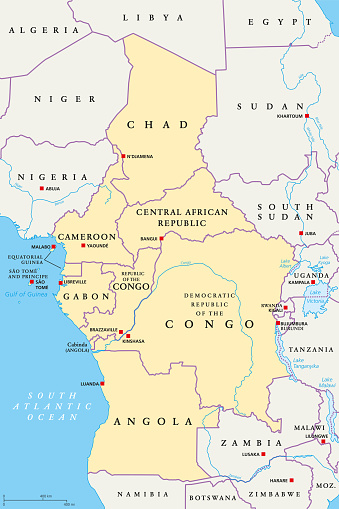 Central Africa region, political map