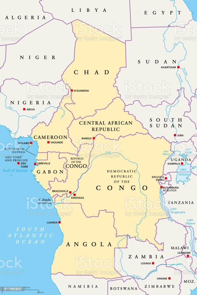 Central Africa region, political map vector art illustration