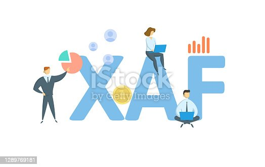 XAF, Central African CFA franc. Concept with keywords, people and icons. Flat vector illustration. Isolated on white background.
