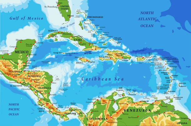 Central America and Caribbean Islands physical map Highly detailed physical map of Central America and Caribbean Islands,in vector format,with all the relief forms,regions and big cities. central america stock illustrations