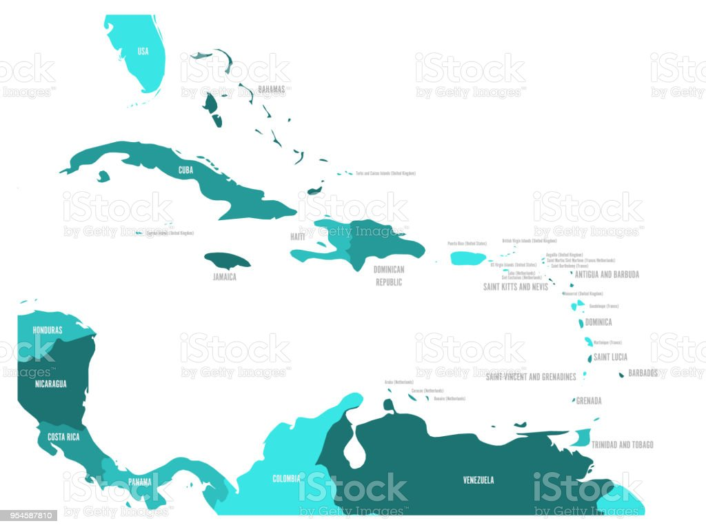 Central America And Caribbean States Political Map In Four Shades Of