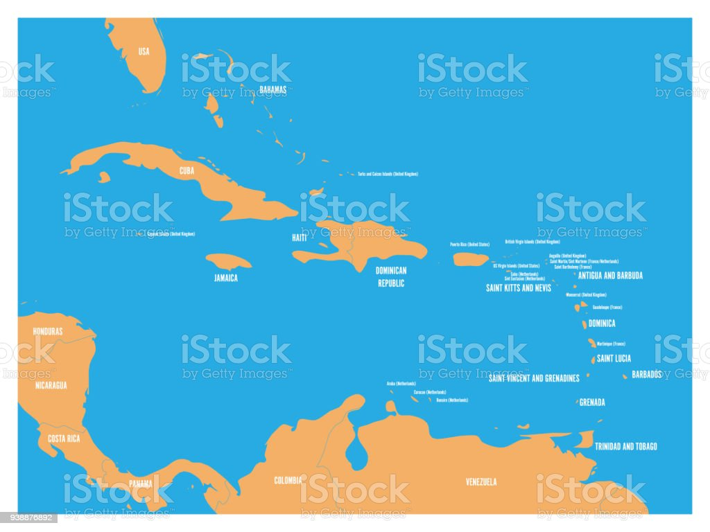 Central America And Carribean States Political Map Yellow Land With ...