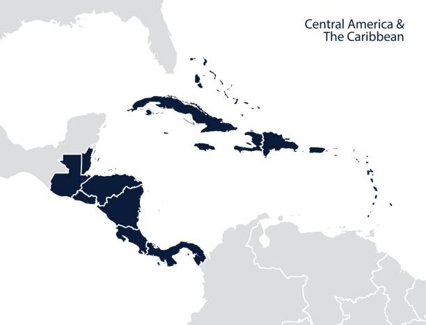 Central America and the Caribbean map Central America and the Caribbean map. Vector central america stock illustrations