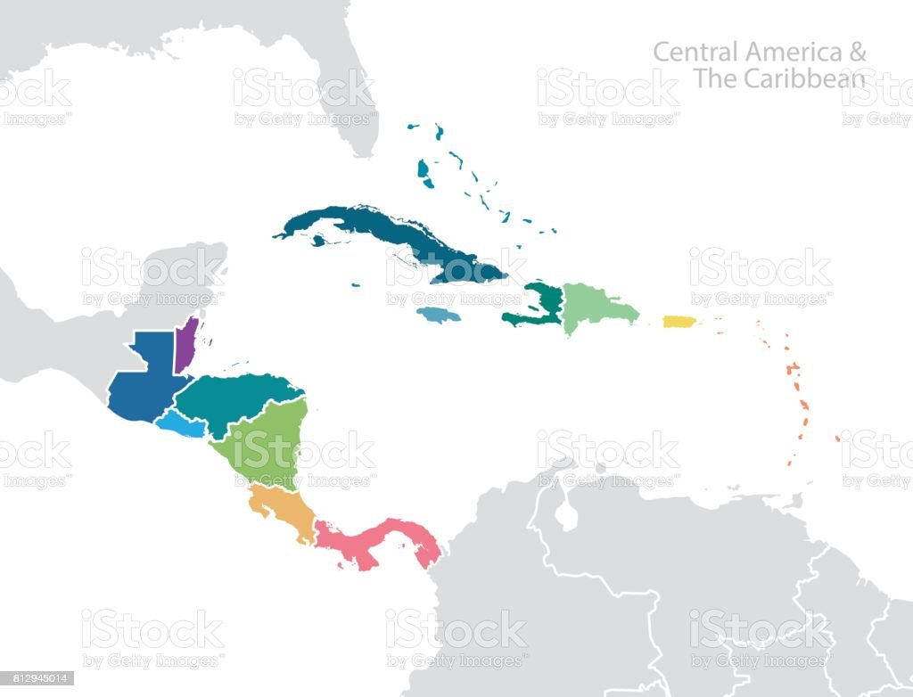 Central America and the Caribbean map vector art illustration