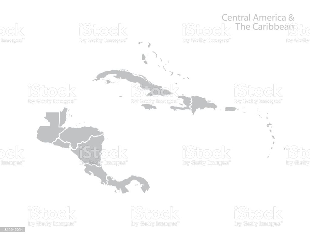 Central America and the Caribbean map. vector art illustration