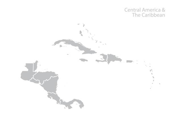 Central America and the Caribbean map. Central America and the Caribbean map. Vector haiti stock illustrations