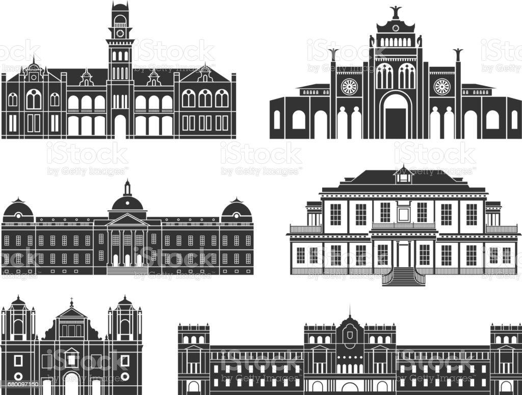 Central America. Architecture. Isolated American buildings on white background - ilustração de arte em vetor
