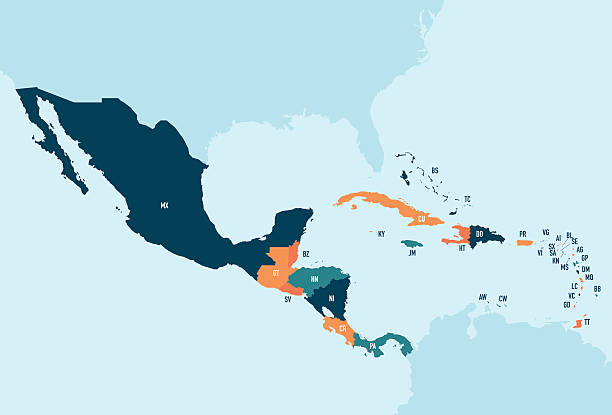 Central America & Caribbean Vector Map Colorful stylized vector map of Central America & the Caribbean with country name abbreviation labels. Countries can be individually selected. central america stock illustrations